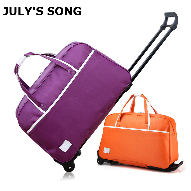 JULY'S SONG Waterproof Luggage Bag Carry On Bag Rolling Suitcase Trolley Luggage Men And Women Travel Bag With Wheels 18inch