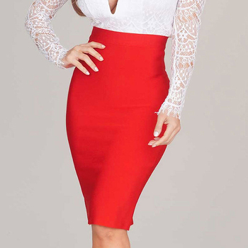 2019 Stretchy Elastic Women Knee Length Celebrity Bandage Skirts Sexy Slim Solid Color Pencil Skirt Drop Shipping HLS113 6