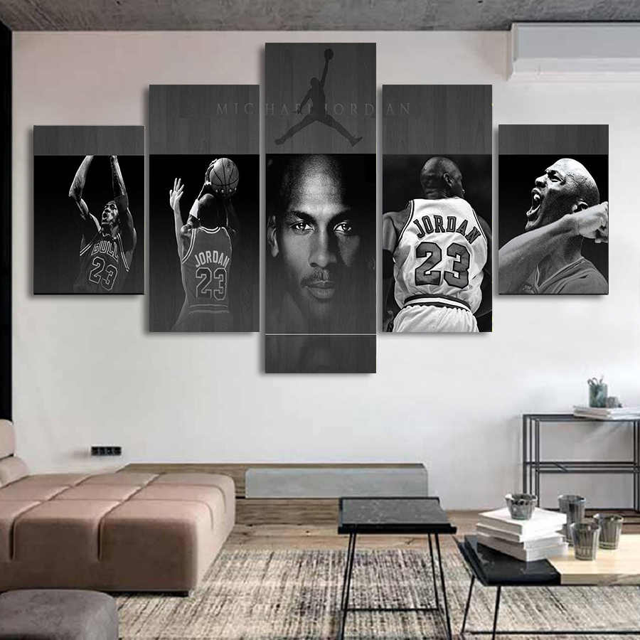 Superster Michael Jordan Canvas Poster En Prints Modulaire Schilderij Op De Muur Picture Art Jongen Slaapkamer Gym Muur Art Canvas decor