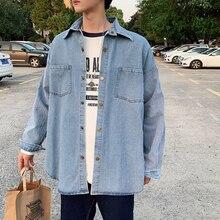 Autumn New Denim Shirt Men Fashion Striped Stitching Casual Jacket Shirts Streetwear Hip Hop Loose Bomber M-2XL