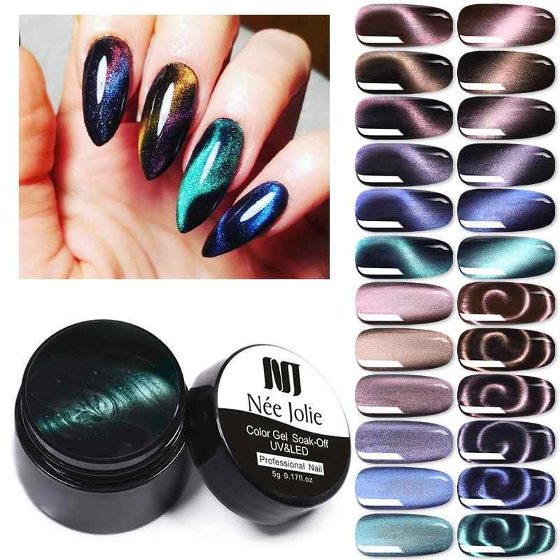 Nee Jolie 8 Ml Cat Eye Gel Nail Polish Rendam Off Gel Cat Seni Kuku Magnicure Kuku Gel Cat Eye uv Gel Varnish
