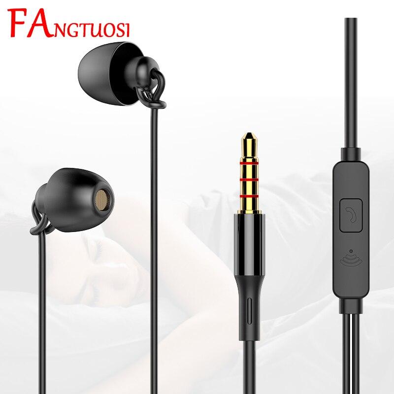 FANGTUOSI Hifi noise-reduzierung schlaf headset 3,5mm in-ohr weiche silikon wired kopfhörer mit mikrofon Für Xiaomi huawei