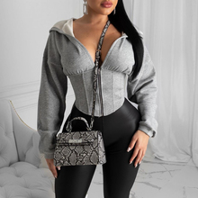 Women Spring Autumn Long Sleeve Zip Hoodies Casual Solid Sweatshirt Sexy Slim Corset Sport Workout Gym Jacket