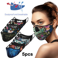 Printed Masks PM2.5 Activated Carbon Face Mask Reusable Washable Adult Cotton Face Mouth Cover Dustproof Masks Fliter Mascarilla