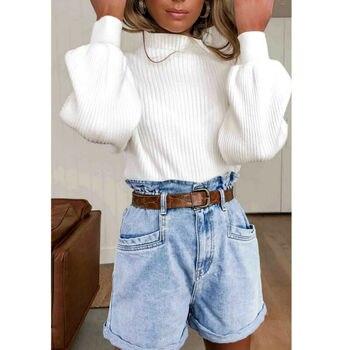 Otoño Invierno mujeres suéter de jerséis sueltos de punto elástico Jumper Slim medio cuello de tortuga caliente mujer Blanco sólido suéteres Tops