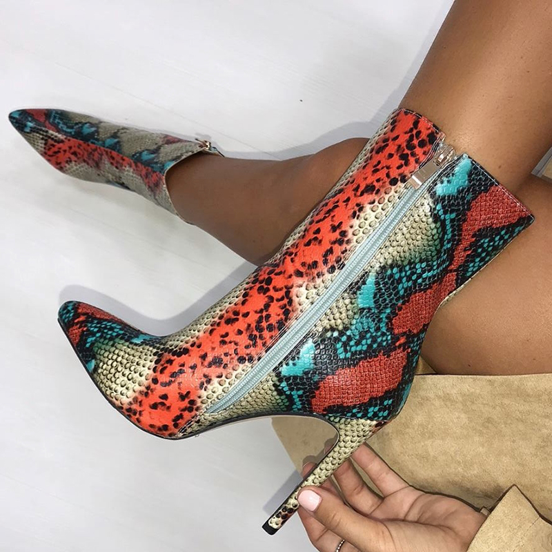2020 Women 11.5cm High Heels Boots Fetish Pointed Toe Boots Serpentine Zip Ankle Boots Prom Colorful Snake Print Stripper Shoes