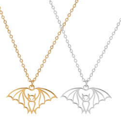 2020 Gothic Stainless Steel Bat Pendant Necklaces for Women Gold Silver Color Choker Necklace Jewelry collar mujer