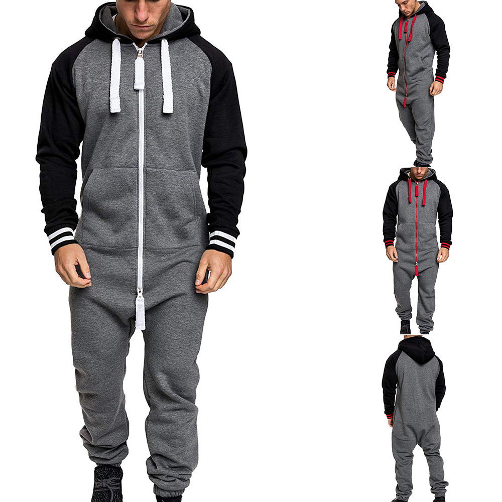 Men Winter Warm Casual Tracksuit Splicing Jumpsuit Male 1PC Overalls Hooded Sweatshirt Fashion Zipper Patchwork Hoodies Playsuit