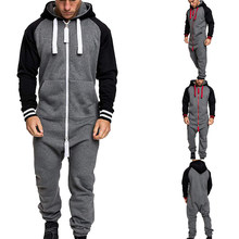 Men Winter Warm Casual Tracksuit Splicing Jumpsuit Male 1PC Overalls Hooded Sweatshirt Fashion Zipper Patchwork Hoodies Playsuit(China)