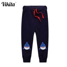 VIKITA erkek bebek çocuk rahat pantolon erkek sevimli karikatür balık pantolon kostümleri uzun pamuklu pantolonlar bebek karikatür külotlu giysiler