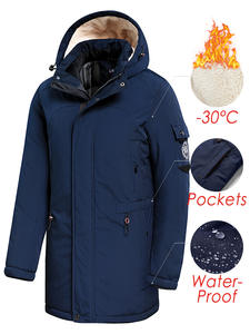 Parkas Jacket Outwear Hooded Coat Men Fleece Waterproof Long Casual Winter Fashion New