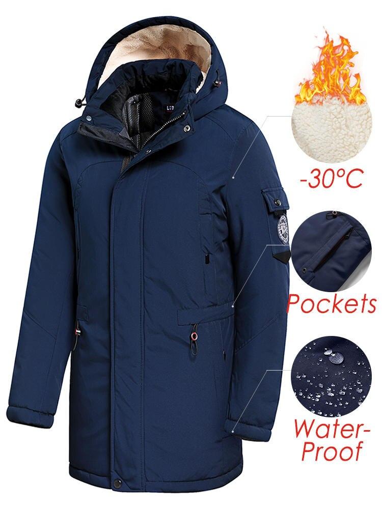 Jacket Coat Outwear Parkas Hooded Fleece Thick Waterproof Men Long Casual Winter Fashion