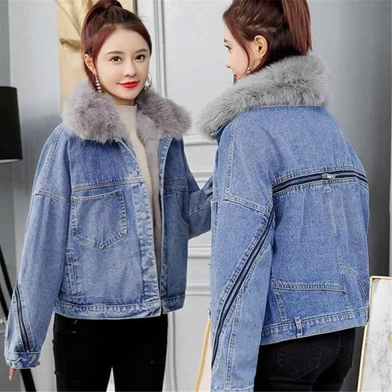 Damska zimowa gruba kurtka dżinsowa kołnierz ze sztucznego futra polarowy płaszcz dżinsowy krótki damski ciepły Denim znosić
