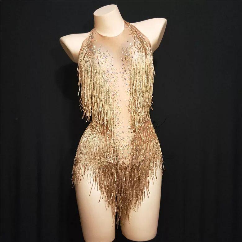 Gold Tassel Crystals Sexy Female Costume Singer Dancer Nightclub Bar Jazz Show Stage DJ Performance Star Leotard Party Bodysuit