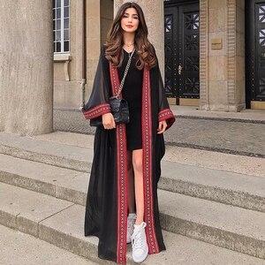 Image 1 - Casaco kimono longo bordado, transparente, branco, de chiffon, túnica plus size, blusa e blusas femininas n1038, 2020