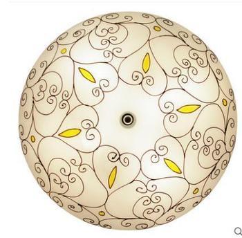 16inch Mediterranean Bohemia Flower Vine  Pastoral Ceiling Light Round Glass Lampshade lamparas de techo abajur