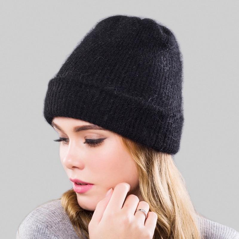 Fashion Winter Women's Angola Wool Knitted Hat Warm Wool Beanie Outdoor Sports Peaked Cap Woolen Cap