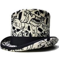 100% Wool Felt 4 Size Skull Design Steampunk Formal Squire Top Cap Magician Fedoras Retro President Lincoln Gentleman Bowler Hat