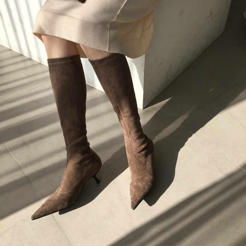 MONMOIRA yavru topuk streç süet çorap kadın seksi sivri burun diz çizmeler kadın katı kış tasarım ayakkabı kadın SWE0877