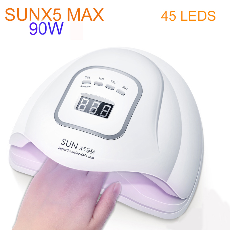 SUN X5 Max 90W UV LED Lamp Nail Dryer Phototherapy Machine Nail Tools 30s/60s/99s Three-stop Timing Smart Sensor Nails Dryer