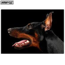 Diy 5d Бриллиантовая мозаичная собака Алмазная картина doberman