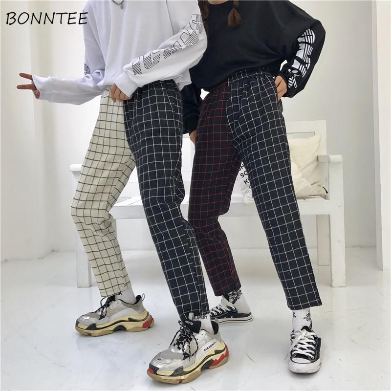Pants Women Plaid Vintage Patchwork Korean Harajuku Hip Hop Ankle-length Trousers Womens Leisure Ulzzang Couple Elastic Waist