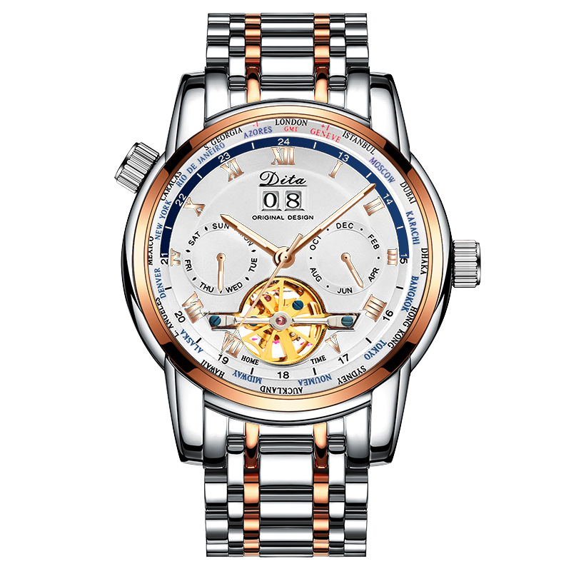Mens Watches Top Luxury Brand Skeleton Tourbillon Automatic Mechanical Watch Men Stainless Steel Multiple Time Zone Wristwatch