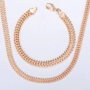Davieslee Jewelry Sets For Women Men 585 Rose Gold Bracelet Necklace Set Double Cuban Weaving Bismark Chain Jewelry 2019 LCS04