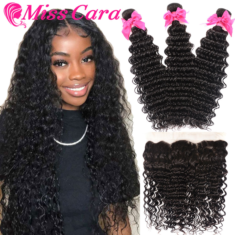 Transparent Lace Frontal With Bundles Peruvian Deep Wave Bundles With Frontal 100% Miss Cara Remy Human Hair With Closure