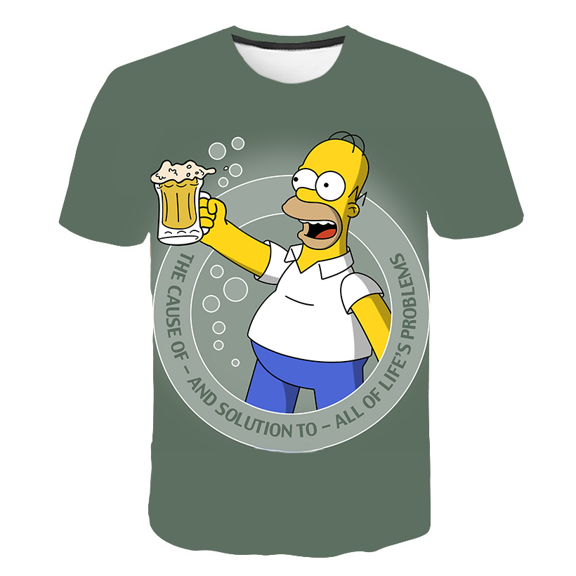The Simpsons Animated 3D Printed T-shirt Men's Women's Clothing Children's Round Neck And Short Sleeves Summer Kids' Fun Tops