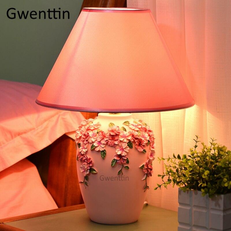 flor romantica moderna candeeiros de mesa led 02