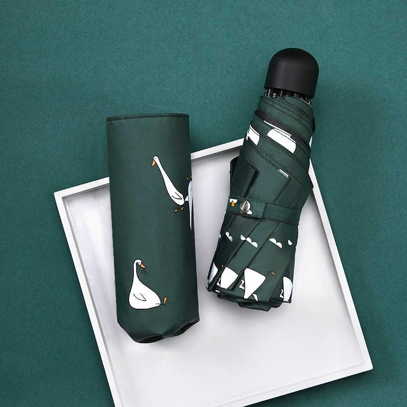 Di modo di sole e di pioggia umrbella carino anatra del fumetto ombrello di protezione UV ombrello per maschi e femmine chiaro ombrello fresco