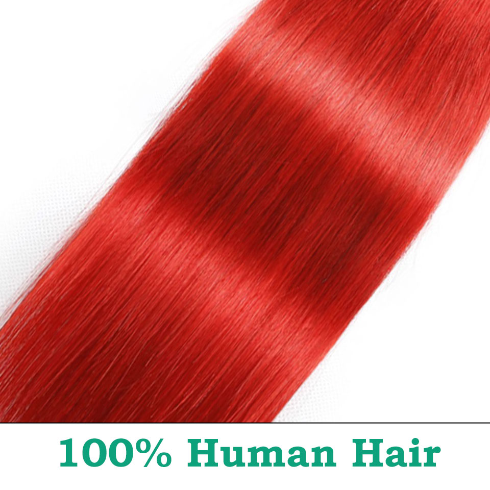 unice hair ombre red bundles with closure (28)