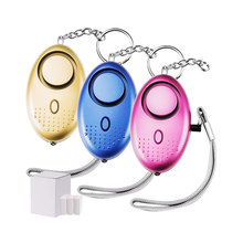 Alarme de segurança pessoal chaveiro led luz 130db safesound auto defesa alarme de emergência para as crianças femininas