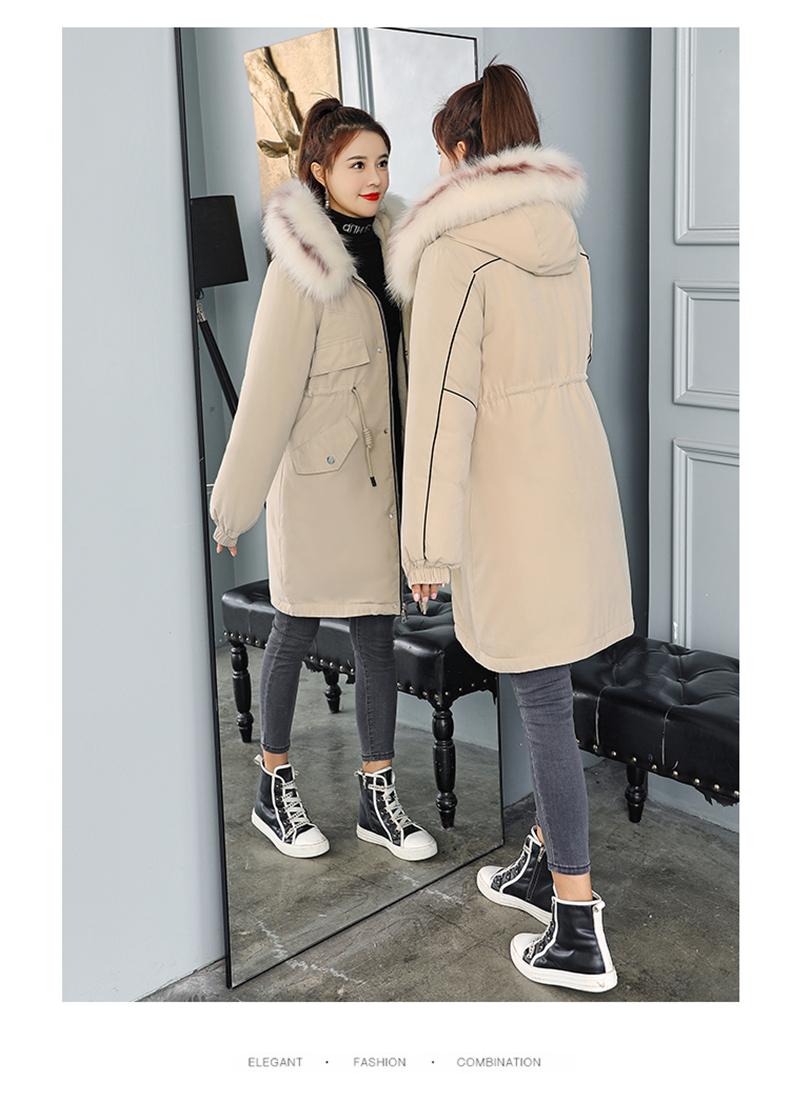 -30 градусов новый 2019 Для женщин зимняя куртка с капюшоном и меховой воротник Женская зимняя обувь Пальто Длинные парки с Меховая подкладка п... 22
