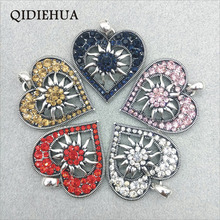 3pcs 40*40mm Antique Silver Carved Heart Charm Pendants Fashion Crystal Flower Edelweiss DIY Necklace Pendant Jewelry Making