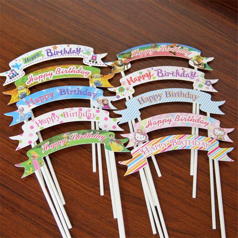 5pcs cake decoration baby shower cake insert flag birthday party cake card baking children party party decoration