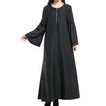 Women's Muslim Long Sleeve Dress Arabian Solid Color Loose Robe women dress clothing robe kaftan Moroccan fashion embroidey 12.4