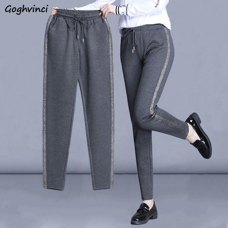 Женские повседневные брюки с полосками сбоку, шаровары со шнуровкой, узкие универсальные мягкие весенние штаны для отдыха, большие размеры,...