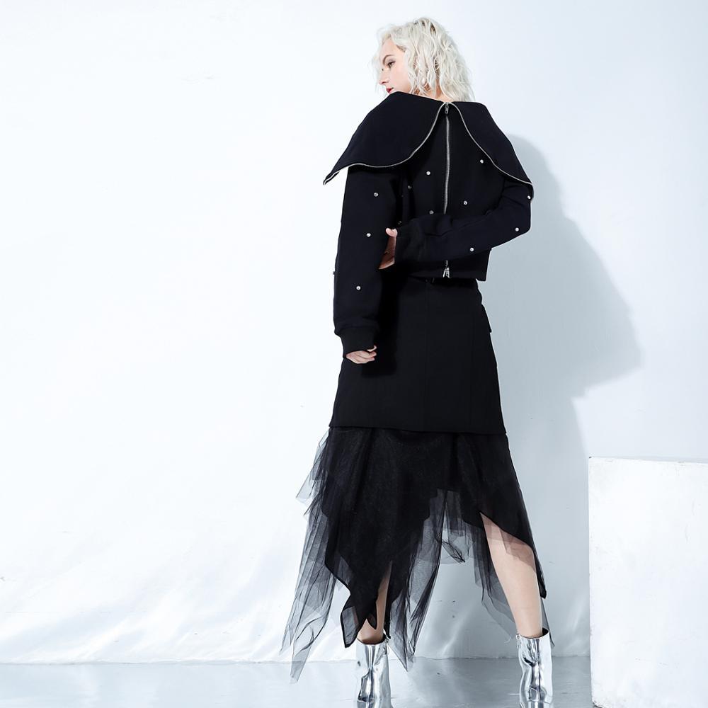 Wreeima 2019 весна осень мода уличная молния большой черный отложной воротник бриллианты Толстовка женские повседневные толстовки - 3