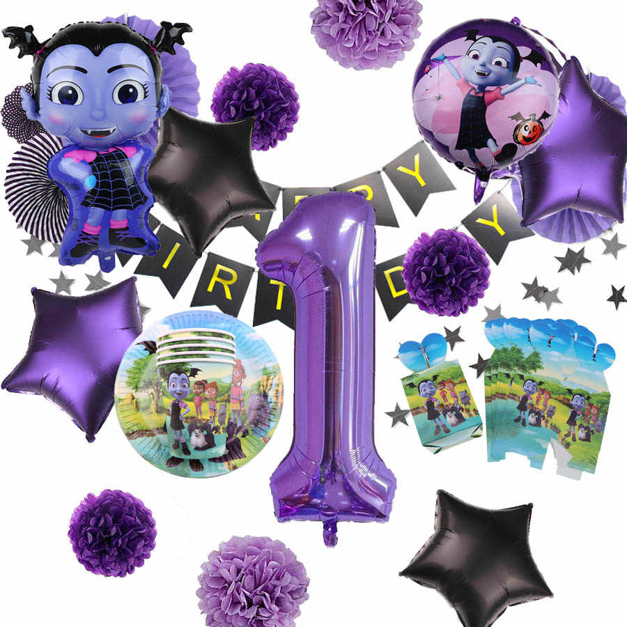 Disposable Tableware Vampire Girl Vampirina Party Decoration Paper Plates Cup Baby Shower Kids Birthday Halloween Suppliers