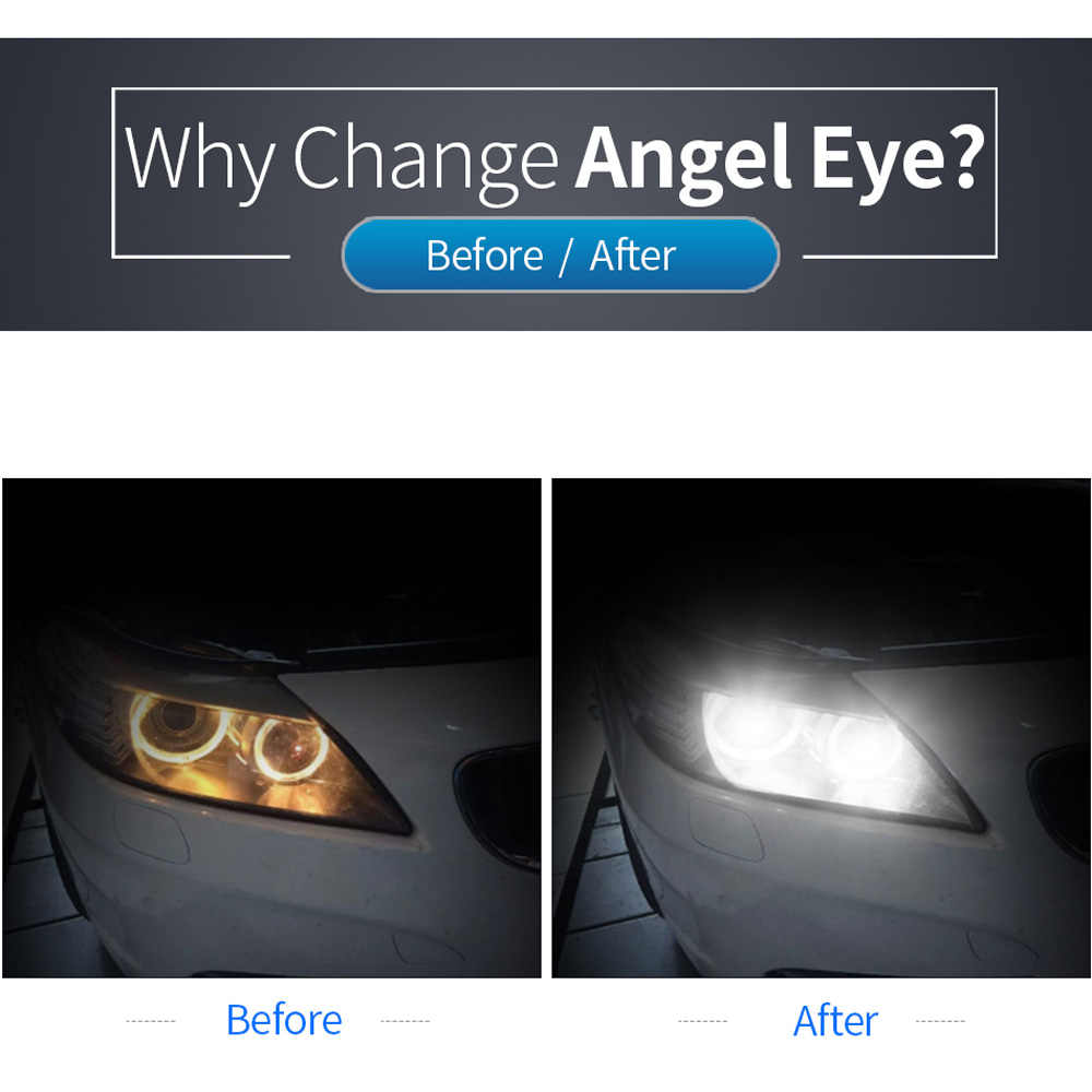 2pcs H8 LED Angel Eyes Halo Ring Light Lamp Bulbs 6500K Set Replacement For BMW