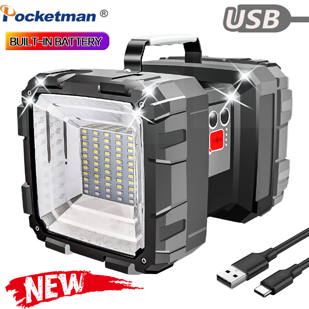 Brightest Double Head Flashlight Searchlight Built-in Battery Emergency LightWork Light Outdoor USB Cable Fishing