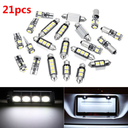SUHU 21Pcs For BMW E46 Sedan Coupe M3 1999-2005 Canbus Car White Interior LED Top Front Rear Dome Map License Plate Lights Set