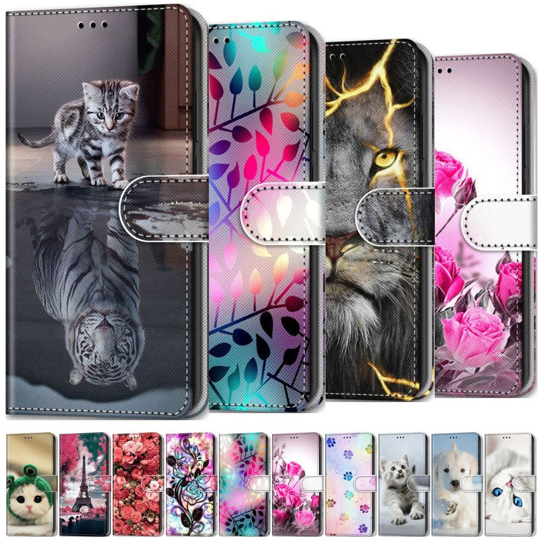 Rose Dog Cat Kids Holster For Case Redmi 9A 9C Note 7 8 8T 9 Pro Lion Patterned Cute Flip Leather Wallet For Nokia 1.4 5.4 D08F