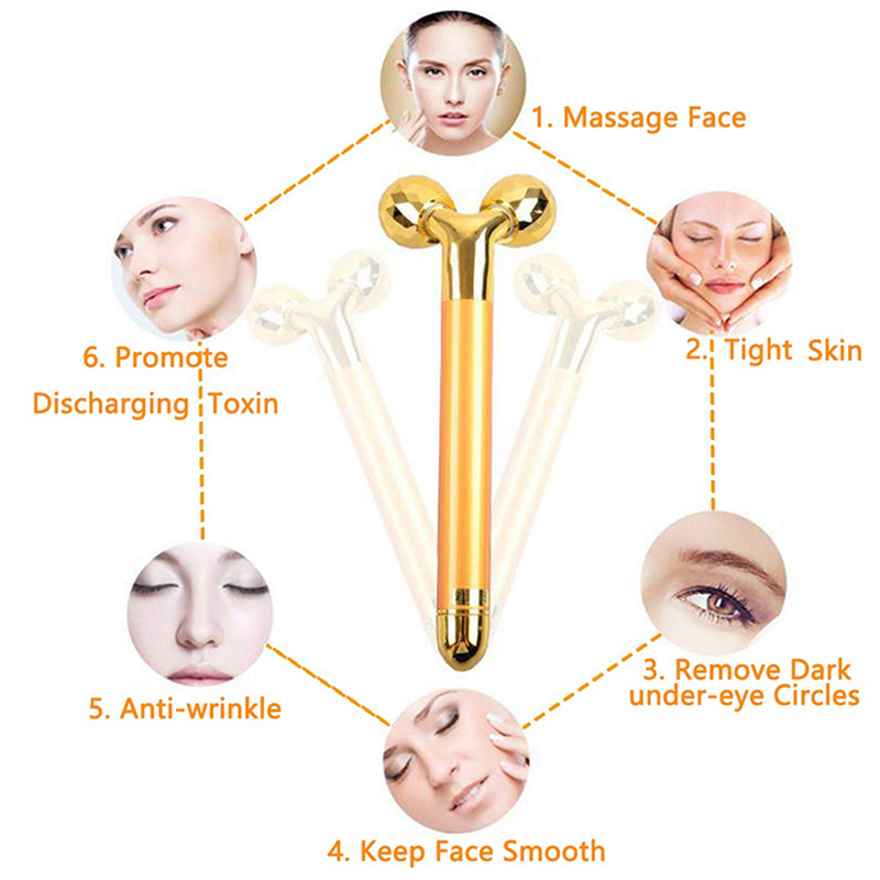 Image 4 - Weight Loss Facial Face Massager Gold Vibrating Facial Beauty Roller Massager Stick Skin Firming Medical Facial Skin Care Tools-in Face Skin Care Tools from Beauty & Health