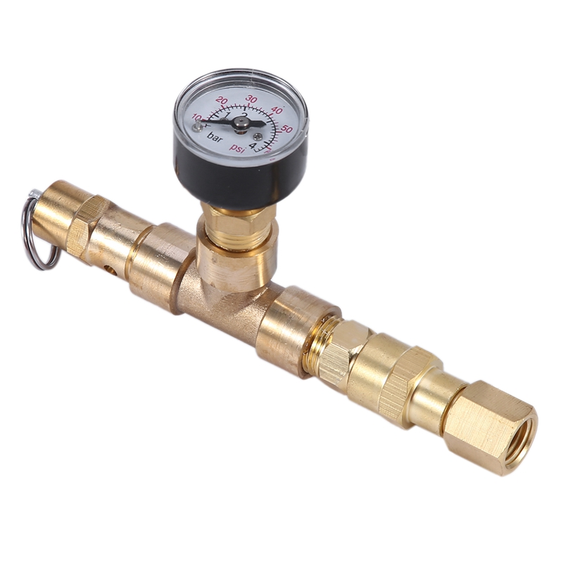 HLZS-Ball-Locked Relief Valve with Pressure Gauge Adjustable Pressure Relief Valve Beer Barrel Pressurizer 0-60 Psi (0-4 Bar) Be image