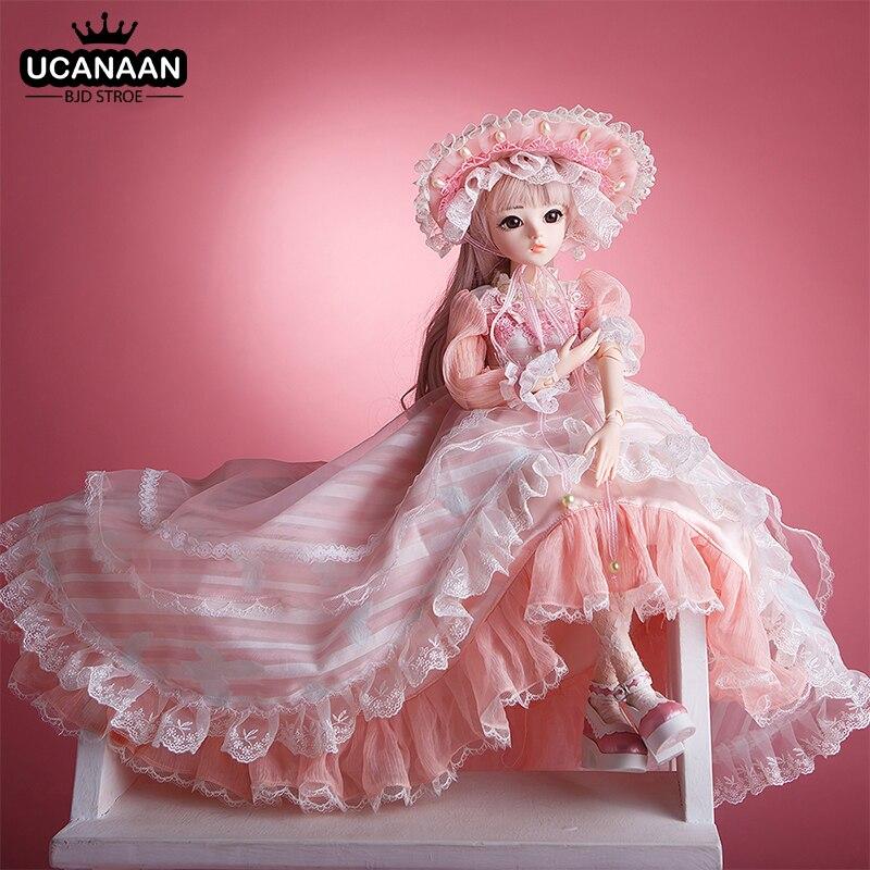 UCanaan BJD Puppe 60CM 1/3 Ball Gelenke Puppen 12 Arten Mit Voller Outfits Kleid Perücke Schuhe Make-Up Geschenk Für mädchen Sammlung Spielzeug
