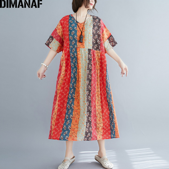 DIMANAF Summer Oversize Long Dress Women Clothing Print Floral Sundress Beach Elegant Lady Vestido Cotton Casual Loose Plus Size 5