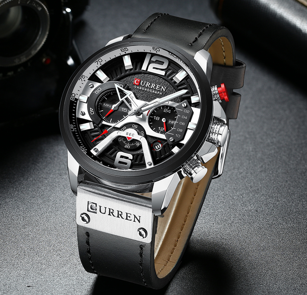 CURREN Casual Sport Watches for Men Blue Top Brand Luxury Military Leather Wrist Watch Man Clock Fashion Chronograph Wristwatch 6